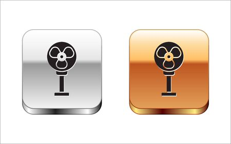 Black Electric fan icon isolated on white background. Silver-gold square button. Vector Illustration Stock Illustratie