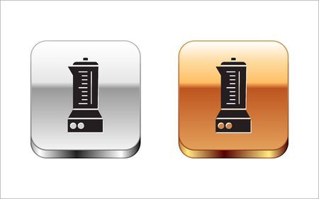 Black Blender icon isolated on white background. Kitchen electric stationary blender with bowl. Cooking smoothies, cocktail or juice. Silver-gold square button. Vector Illustration