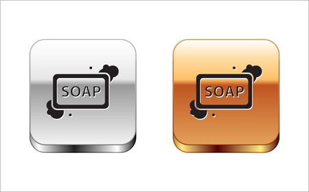 Black Bar of soap with foam icon isolated on white background. Soap bar with bubbles. Silver-gold square button. Vector Illustration Banque d'images - 130579715