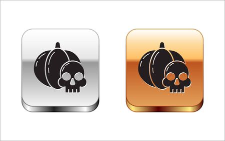 Black Pumpkin and skull icon isolated on white background. Happy Halloween party. Silver-gold square button. Vector Illustration