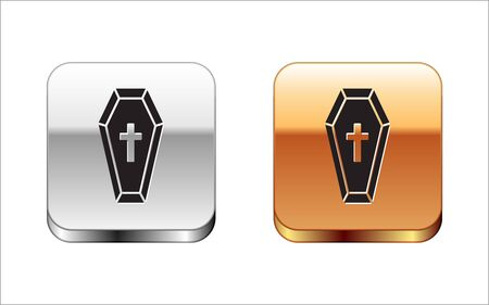 Black Coffin with christian cross icon isolated on white background. Happy Halloween party. Silver-gold square button. Vector Illustration Archivio Fotografico - 130579731