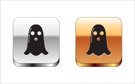 Black Ghost icon isolated on white background. Happy Halloween party. Silver-gold square button. Vector Illustration