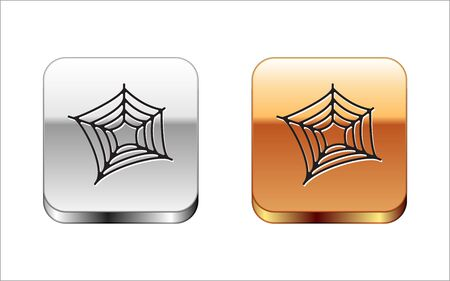Black Spider web icon isolated on white background. Cobweb sign. Happy Halloween party. Silver-gold square button. Vector Illustration