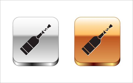 Black Champagne bottle icon isolated on white background. Silver-gold square button. Vector Illustration