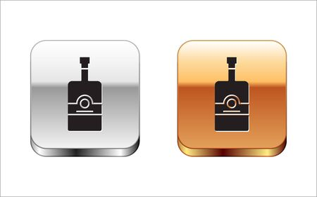 Black Whiskey bottle icon isolated on white background. Silver-gold square button. Vector Illustration