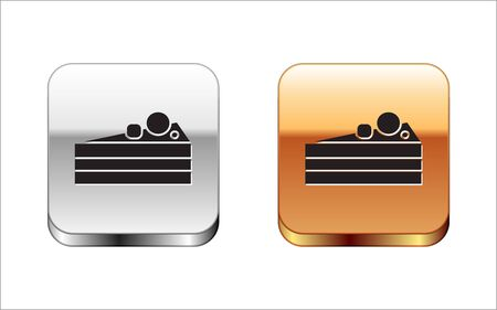 Black Cake icon isolated on white background. Happy Birthday. Silver-gold square button. Vector Illustration Illustration