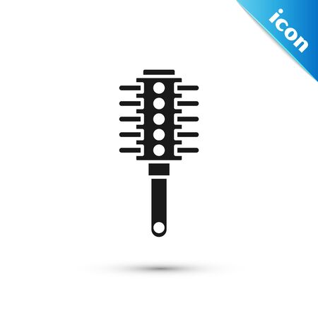 Black Hairbrush icon isolated on white background. Comb hair sign. Barber symbol. Vector Illustration