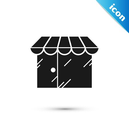 Black Barbershop building icon isolated on white background. Vector Illustration