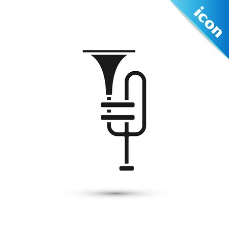 Black Musical instrument trumpet icon isolated on white background. Vector Illustration
