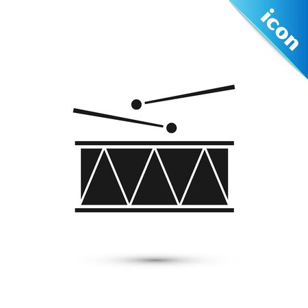Black Musical instrument drum and drum sticks icon isolated on white background. Vector Illustration Stock Illustratie