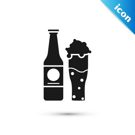 Black Beer bottle and glass icon isolated on white background. Alcohol Drink symbol. Vector Illustration 일러스트