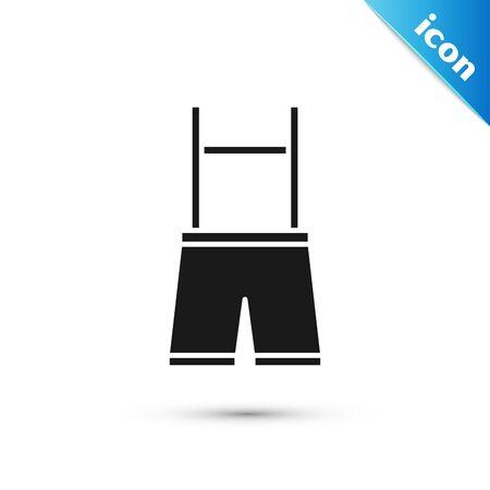 Black Lederhosen icon isolated on white background. Traditional bavarian clothing. Oktoberfest outfit. Pants with suspenders. Patrick day. Vector Illustration Çizim