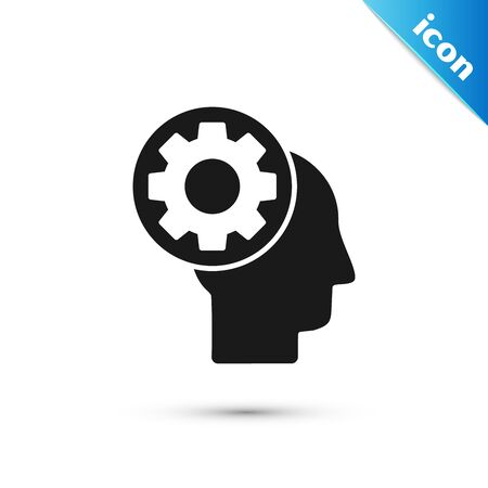 Black Human head with gear inside icon isolated on white background. Artificial intelligence. Thinking brain sign. Symbol work of brain. Vector Illustration