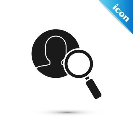 Black Magnifying glass for search a people icon isolated on white background. Recruitment or selection concept. Search for employees and job. Vector Illustration