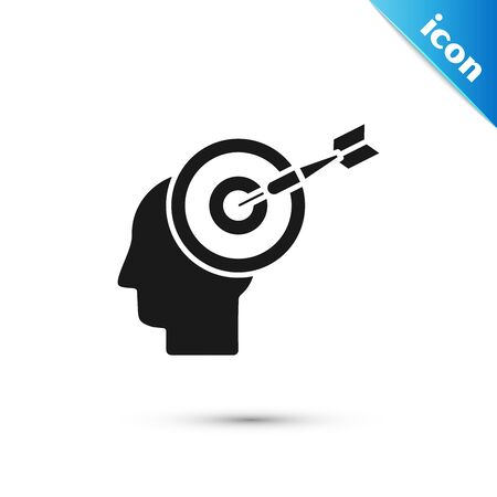 Black Head hunting concept icon isolated on white background. Business target or Employment sign. Human resource and recruitment for business. Vector Illustration