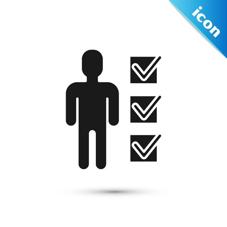 Black User of man in business suit icon isolated on white background. Business avatar symbol user profile icon. Male user sign. Vector Illustration