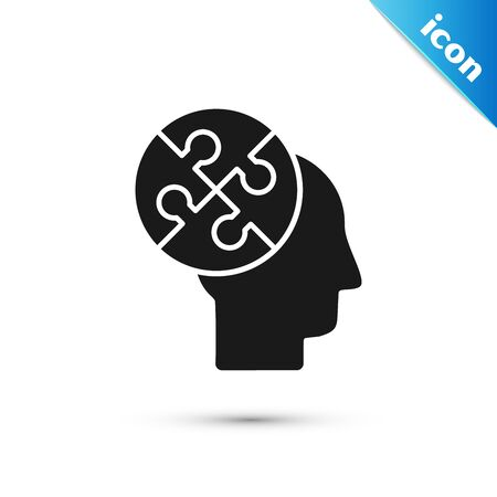 Black Human head puzzles strategy icon isolated on white background. Thinking brain sign. Symbol work of brain. Vector Illustration Illustration