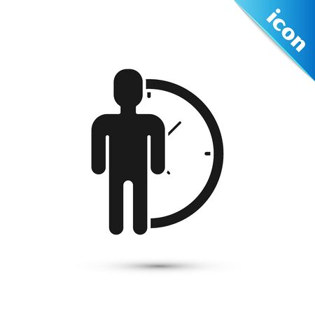 Black Time Management icon isolated on white background. Clock and gear sign. Productivity symbol. Vector Illustration Banque d'images - 130593525