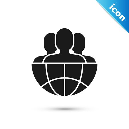 Black Globe and people icon isolated on white background. Global business symbol. Social network icon. Vector Illustration
