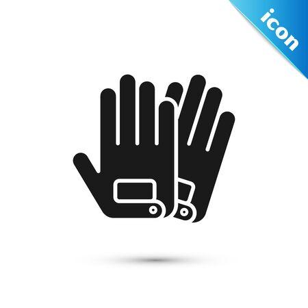 Black Gloves icon isolated on white background. Extreme sport. Sport equipment. Vector Illustration