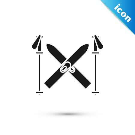 Black Ski and sticks icon isolated on white background. Extreme sport. Skiing equipment. Winter sports icon. Vector Illustration