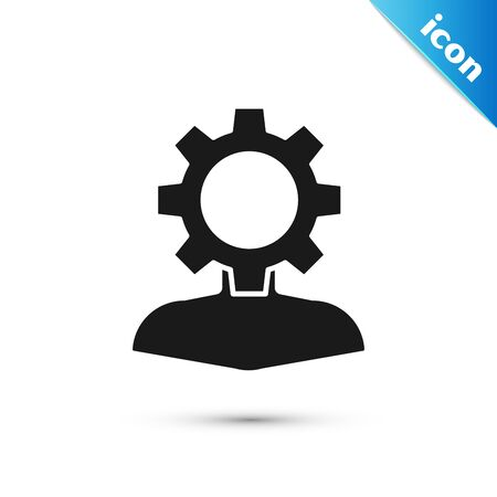 Black Human with gear inside icon isolated on white background. Artificial intelligence. Thinking brain sign. Symbol work of brain. Vector Illustration