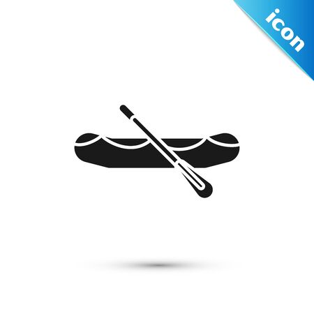 Black Rafting boat icon isolated on white background. Inflatable boat with paddles. Water sports, extreme sports, holiday, vacation. Vector Illustration