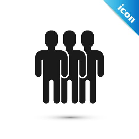 Black Users group icon isolated on white background. Group of people icon. Business avatar symbol - users profile icon. Vector Illustration