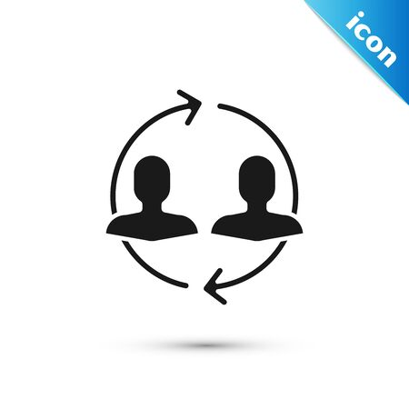 Black Human resources icon isolated on white background. Concept of human resources management, professional staff research, head hunter job. Vector Illustration