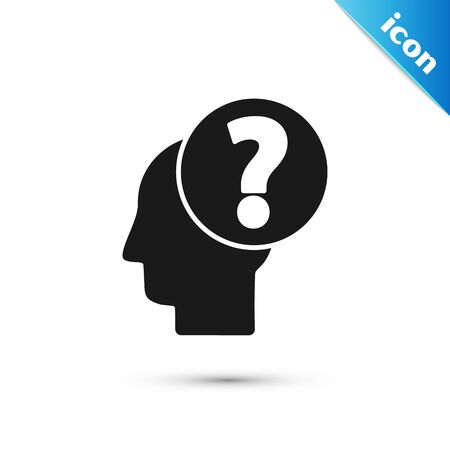 Black Human head with question mark icon isolated on white background. Vector Illustration Illustration