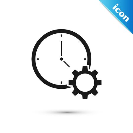 Black Time Management icon isolated on white background. Clock and gear sign. Productivity symbol. Vector Illustration Banque d'images - 130593751