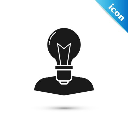 Black Human head with lamp bulb icon isolated on white background. Vector Illustration Illustration