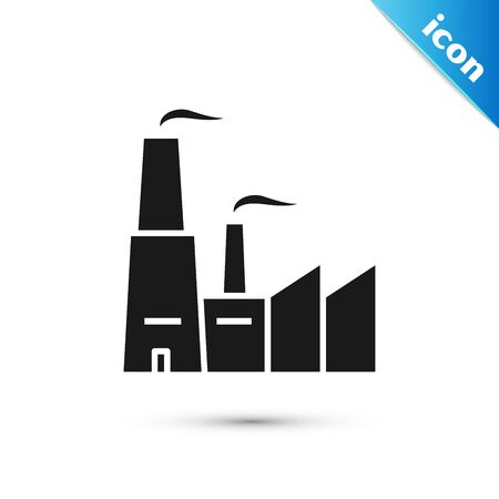 Black Factory icon isolated on white background. Industrial building. Vector Illustration