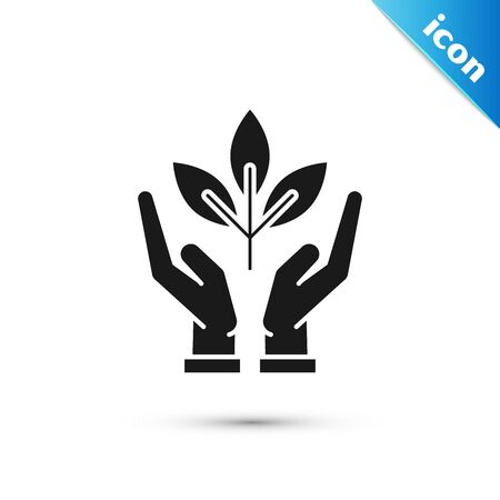 Black Plant in hand of environmental protection icon isolated on white background. Seed and seedling. Planting sapling. Ecology concept. Vector Illustration