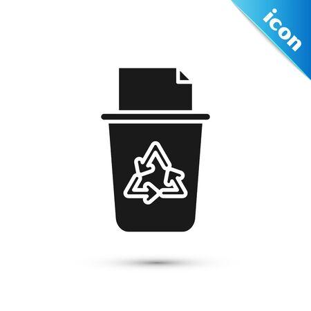 Schwarzer Papierkorb mit Recycling-Symbol auf weißem Hintergrund. Mülleimer-Symbol. Mülleimer-Zeichen. Recycling-Korb-Zeichen. Vektorillustration
