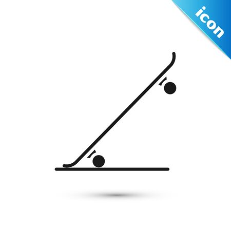 Black Skateboard icon isolated on white background. Extreme sport. Sport equipment. Vector Illustration Ilustrace