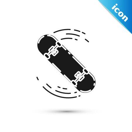 Black Skateboard trick icon isolated on white background. Extreme sport. Sport equipment. Vector Illustration Ilustrace