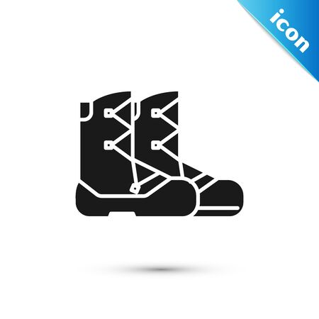 Black Boots icon isolated on white background. Vector Illustration