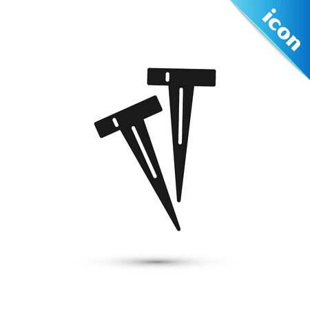 Black Pegs for tents icon isolated on white background. Extreme sport. Sport equipment. Vector Illustration