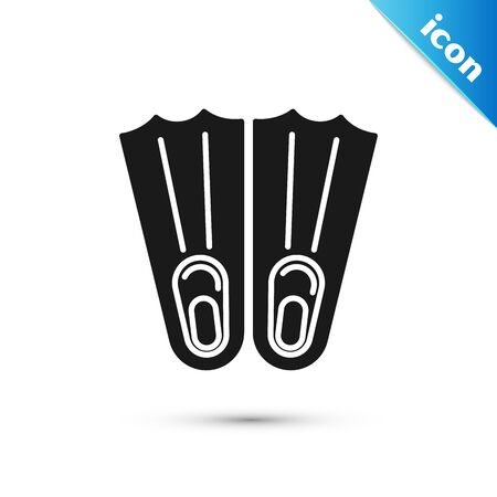 Black Rubber flippers for swimming icon isolated on white background. Diving equipment. Extreme sport. Sport equipment. Vector Illustration