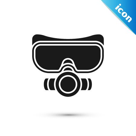 Black Diving mask icon isolated on white background. Extreme sport. Sport equipment. Vector Illustration