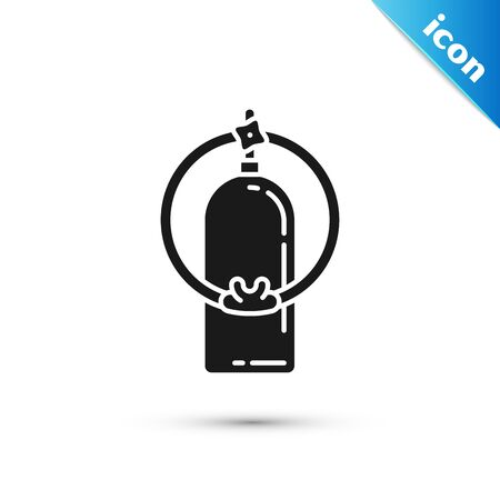 Black Aqualung icon isolated on white background. Oxygen tank for diver. Diving equipment. Extreme sport. Sport equipment. Vector Illustration Иллюстрация