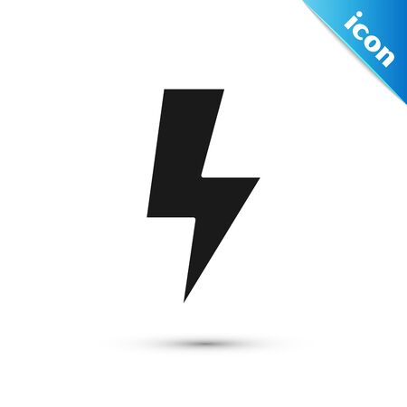 Black Lightning bolt icon isolated on white background. Flash sign. Charge flash icon. Thunder bolt. Lighting strike. Vector Illustration