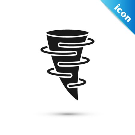 Black Tornado icon isolated on white background. Vector Illustration Illustration