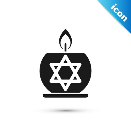 Black Burning candle in candlestick with star of david icon isolated on white background. Cylindrical candle stick with burning flame. Vector Illustration Ilustração