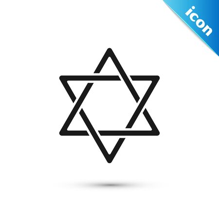 Black Star of David icon isolated on white background. Jewish religion symbol. Symbol of Israel. Vector Illustration Illustration