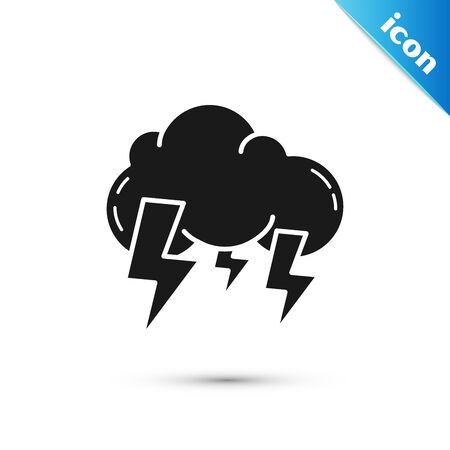 Black Storm icon isolated on white background. Cloud and lightning sign. Weather icon of storm. Vector Illustration Illustration