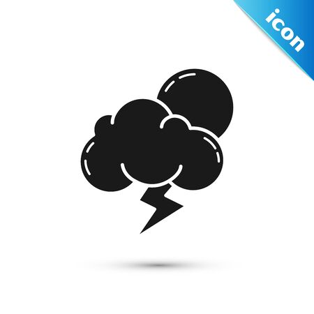 Black Storm icon isolated on white background. Cloud with lightning and sun sign. Weather icon of storm. Vector Illustration