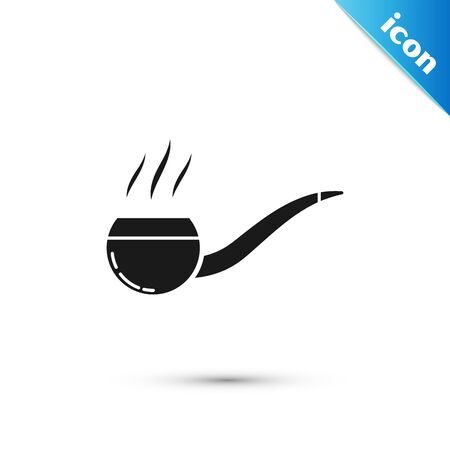 Black Smoking pipe with smoke icon isolated on white background. Tobacco pipe. Vector Illustration Ilustrace
