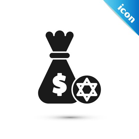 Black Jewish money bag with star of david and coin icon isolated on white background. Currency symbol. Vector Illustration Illustration